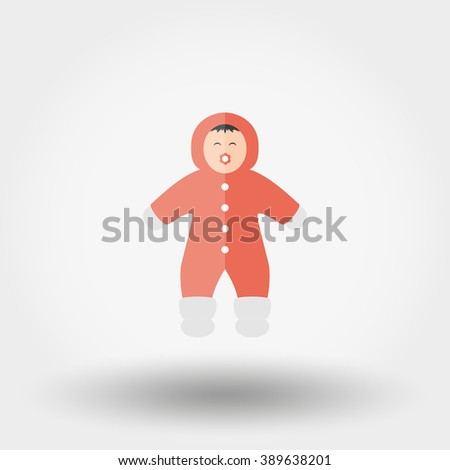 Child in winter Rompers. Icon for web and mobile application. Vector illustration on a white background. Flat design style.