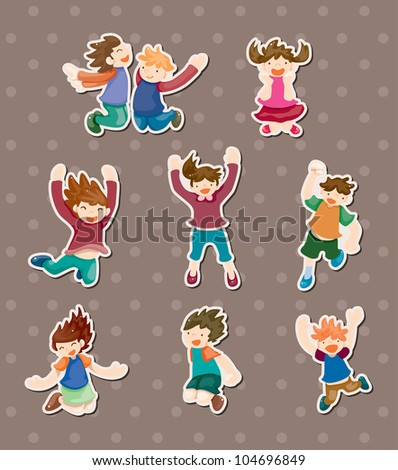 child jump stickers - stock vector