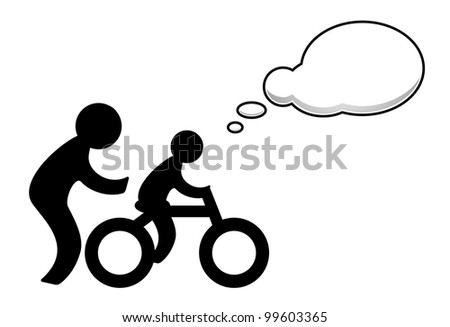 Child learns to ride a bike