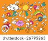 Child like fun vector doodles - stock vector