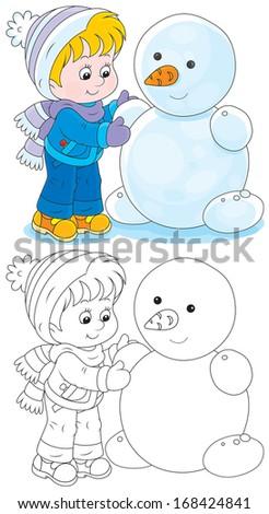 Child makes a snowman - stock vector