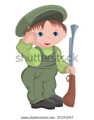 Child - military - stock vector