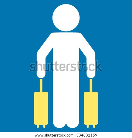 Child Passenger vector icon. Style is bicolor flat symbol, yellow and white colors, rounded angles, blue background. - stock vector