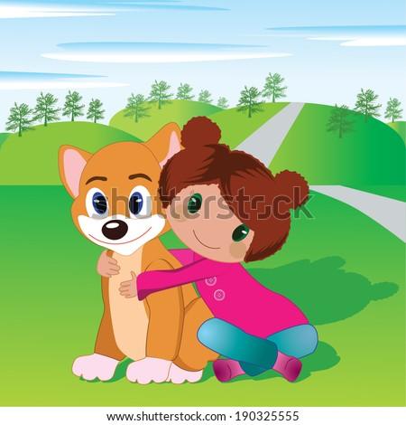 Child & pet vector - stock vector