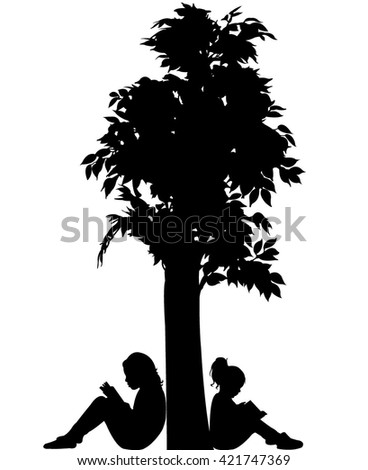 child reading the book, silhouette vector - stock vector