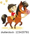 Child Riding Small Horse: image isolated on white background - stock vector