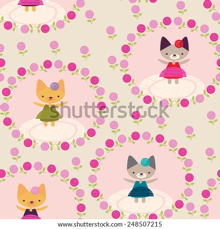 child's background with roses - stock vector