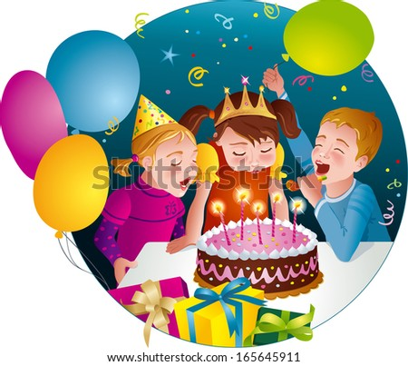 Child's birthday party - kids having fun, blowing candles on cake. Balloons, whistles, presents. Vector illustration - stock vector