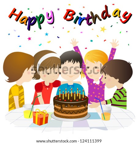 child's birthday party with chocolate cake - stock vector