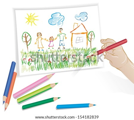 child's drawing - stock vector
