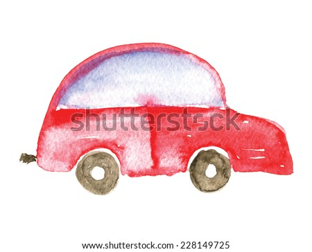 Child's drawing car. Watercolor vector illustration. - stock vector