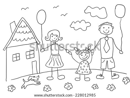 childs drawing happy family with dog father mother daughter and their house - Child Drawing Book