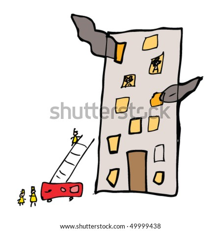 child's drawing of a building on fire - stock vector