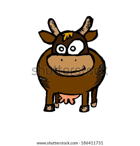 child's drawing of a cow. Vector - stock vector