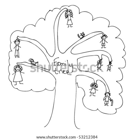 childs drawing of a family tree - Child Drawing Book