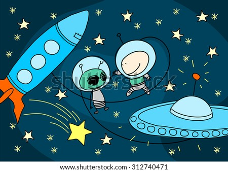 Child's drawing of an alien and astronaut greeting each other - stock vector