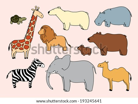 Child's drawing of animals - stock vector