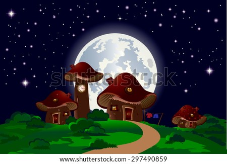Child's drawing of mushrooms houses with a fence, chimney, window, roof and door landscape with shrubs, moon and stars, with deep, bright colors, suitable for Wallpaper Mural or picture book. - stock vector