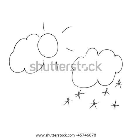 child's drawing of sun and snow - stock vector