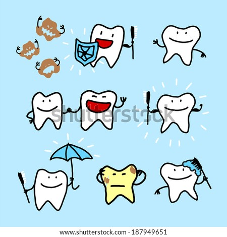 Child's drawing of teeth - stock vector