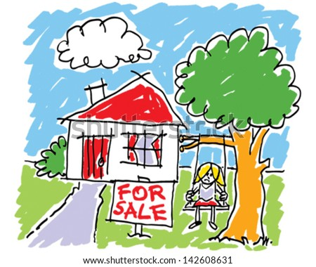 Child's Home Drawing - stock vector