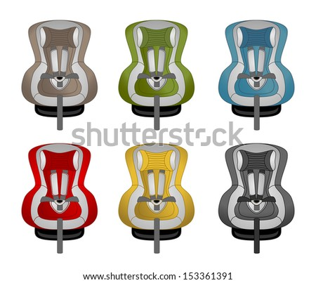 Child safety seats icon set - stock vector