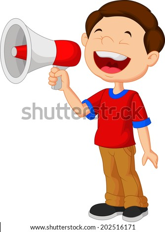Child screaming into a megaphone - stock vector