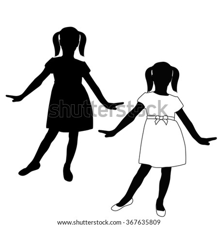 Child Silhouette  in a dress. Vector illustration isolated on white background.