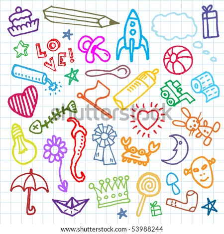 child sketch. Vector seamless pattern. - stock vector