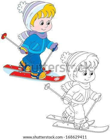 Child skiing - stock vector