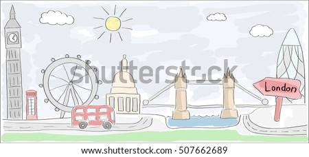 Child style colored sketch drawing of London city in England with Double decker bus