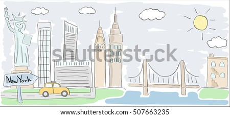 Child style colored sketch drawing of New York city in America with Statue of Liberty