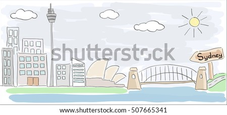 Child style colored sketch drawing of Sydney city in Australia with Opera House
