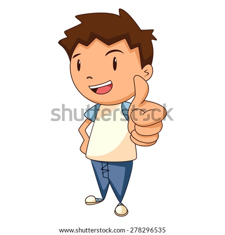 Child thumbs up, vector illustration - stock vector