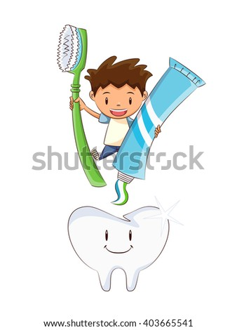 Child tooth brushing, vector illustration - stock vector