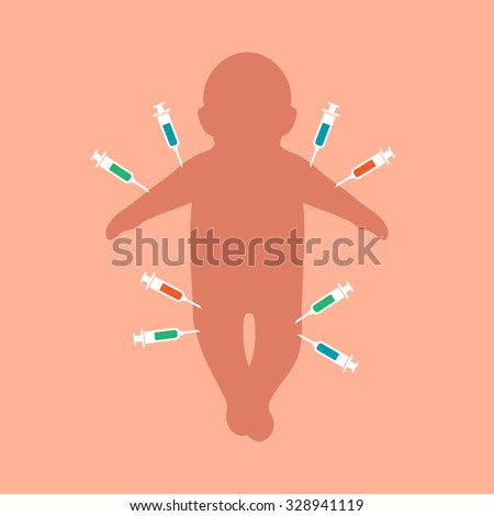 child vaccination, baby injection, anti vaccine background  - stock vector