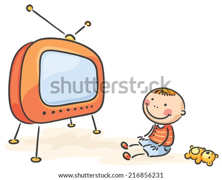 child watching tv isolated stock vector royalty free 216856231
