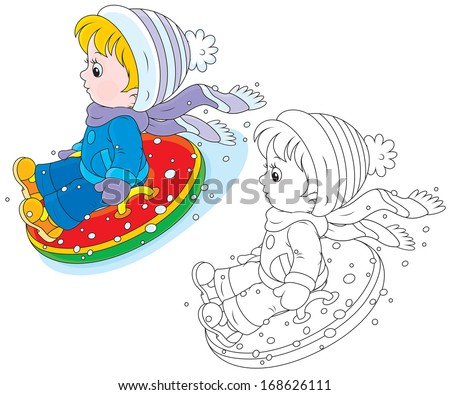Child with an inflatable snow tube - stock vector
