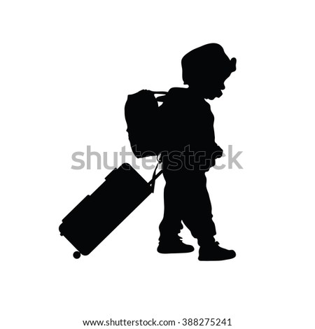 child with travel bag black illustration silhouette - stock vector