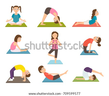 Child Yoga Poster With Kids Doing Sport Exercises On Rubber Mat Vector Illustration Boys And Girls
