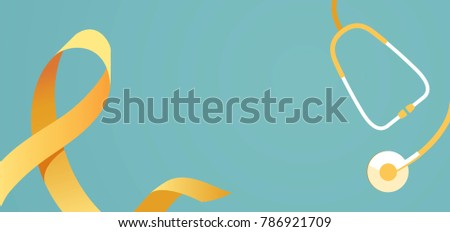 Childhood cancer awareness banner with stethoscope on blue background with yellow ribbon symbol. Vector flat illustration