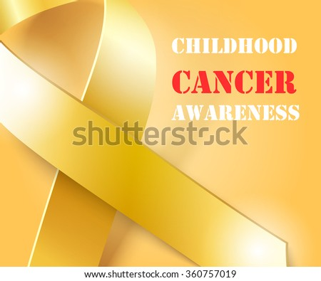 Childhood Cancer Awareness concept , golden background with gold ribbon, vector illustration - stock vector