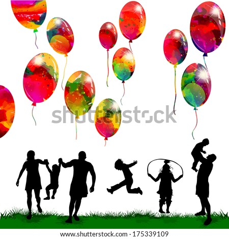 Childhood family silhouettes with balloons. Vector