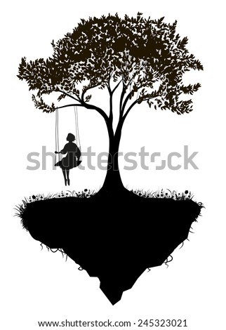 Childhood memories, piece of childhood, girl on swing, fairy, black and white,  tree on flying rock, silhouette - stock vector