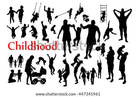 Childhood silhouettes set. Vector
