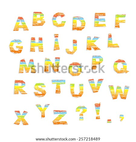 childish alphabet, colorful letter cutout on white background,  vector illustration - stock vector