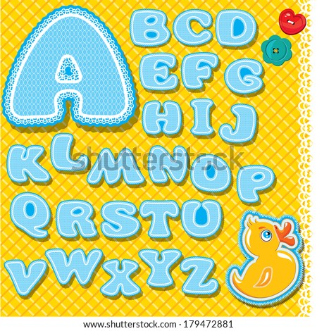 Childish alphabet - letters are made of blue lace and ribbons on checkered yellow background - version for baby boy. - stock vector