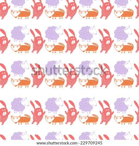 Childish background in vector. With fox, bunny, sheep   - stock vector
