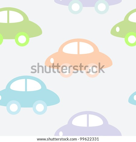 Childish background with cars for baby boy - stock vector