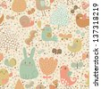 Childish background with rabbit, snail, bird and butterfly in vector. Seamless pattern can be used for wallpapers, pattern fills, web page backgrounds, surface textures. - stock vector